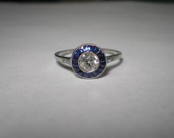 Vintage Platinum Euro Diamond Sapphire Art Deco Ring Size 7