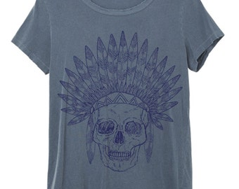 Womens Boho Vintage INDIAN SKULL Feather Headdress Shirt Tee Top Bohemian Festival Vintage Retro Cotton Fashion Short Sleeve Tshirt S M L XL