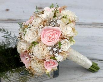 Large Sola Bridal Wedding Bouquet, Brooches,Swarovski crystals,Pearls, Hydrangeas,Tallo berries,Baby's Breath,Vintage Inspire,Keep Sake