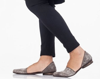 SALE 30% OFF Smoky brown flat leather sandals , Open flat shoes, Designer comfortable shoes ,