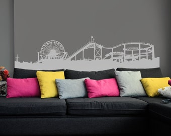 Santa Monica Pier Skyline Silhouette Wall Decal - Custom Vinyl Art Stickers for Homes, Living Rooms, Bedrooms, Stores, Offices, Kids Rooms