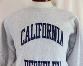go Cal golden bears vintage 70's 80's University of California Berkeley heather grey reverse weave fleece graphic sweatshirt blue logo large