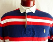 vintage 90s Polo by Ralph Lauren red white navy blue horizontal stripe colorblock rugby shirt yellow pony logo sweater pullover jumper small