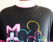 cute kawaii vintage 80's 90's Disney Mickey Mouse black graphic t-shirt pastel purple puffy print pink double sleeve collar cartoon large