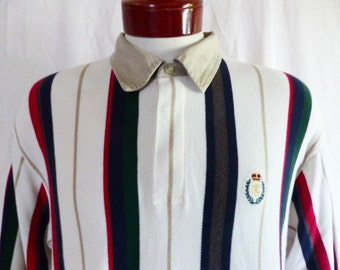 vintage 90s Chaps Ralph Lauren CRL color block white navy blue red beige green grey vertical stripe long sleeve pique knit polo shirt large