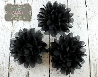 Black Chiffon Puff Flower, 4 inch Size, Chiffon Petals, Headband Flower, DIY Headband Supply