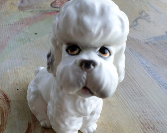 Small White Ceramic Poodle, Japan, Mid Century Collectible, Vintage Ceramic Dog, Dog Figurines