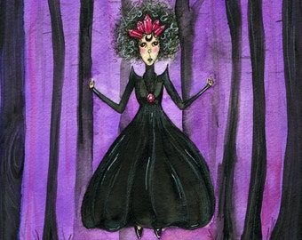 """Crystal Witch Valentina, 6x8"""" Original Watercolor, Gothic, Witch, Witchy, Victorian, Levitation, Crystals, Fairytale"""