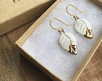 Small Gold Leaf Earrings *Ships FREE in U.S.*