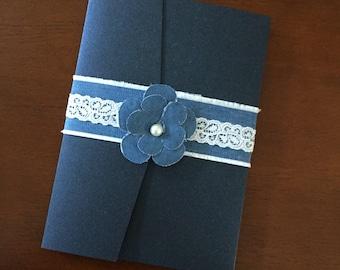 Denim and  Lace Wedding Invitation  - Boho Country Wedding Invitation - Barn Wedding Invitation - Blue Jean wedding Invitation
