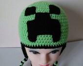 Minecraft Hat, creeper hat, minecraft creeper, video game hat, gamer,winter hat for kids, halloween costume