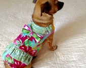 Cotton Dress for Small Dog, Custom to Fit Yorkie or Pomeranian Size - Teal, Golden Yellow, Dusty Rose White Floral Aloha Print