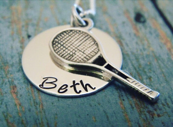 Tennis Necklace, Sterling Silver Tennis Player Necklace, Personalized Name Plate Necklace, Tennis Racket and Name Necklace, Custom Necklace