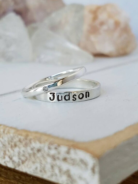 Sterling Silver Name Ring, Stacking Rings, Stackable Name Rings, Personalized Name Ring, Mothers ring, Name Ring, Birthstone ring, Name Ring