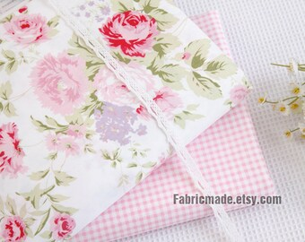 Shabby Chic Pink Rose Floral Cotton Fabric on White Cotton Pink Flower Plaid Coordinated Flower for Quilt- 1/2 Yard