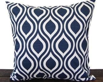 Navy Blue pillow cover One cushion cover in Premier Navy Slub on white throw pillow ocean beach decor sham Nicole