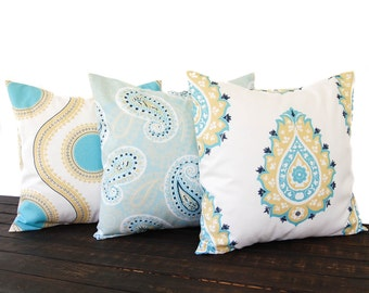 Throw pillow covers set of three cushion covers Saffron Yellow Aqua Coastal Blue white paisley damask medallion