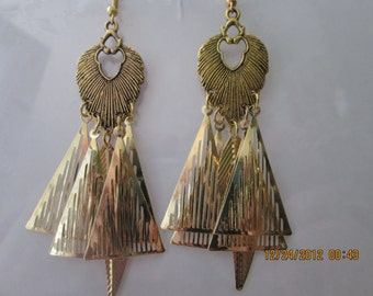 Gold Tone Chandelier Earrings with Gold Tone Filigree and Leaf Charm Dangles
