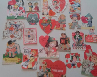 Valentines 21 Vintage Cards Heart Love