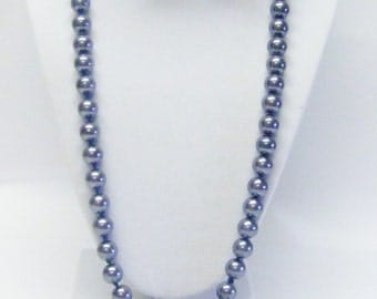 32 Inch Knotted Dark Silver Glass Pearl Necklace & Earrings Set