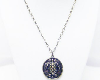 Round Antique Bronze w/Turtle Image Necklace