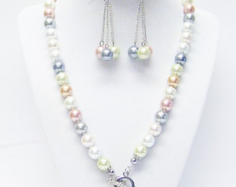"30"" Front Closure Multi Color Glass Pearl Necklace/Bracelet/ Earrings"
