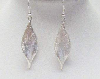 Brushed Silver Leaf Earrings