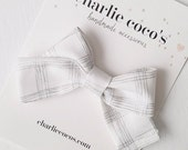 """Baby / Girls// Fabric Bow Headband OR Hair Clip, White and Silver Plaid Stripe Bow """"Sophia"""" by Charlie Coco's"""
