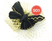 SALE!! Black Feathered Butterfly With Gold Veil Fascinator Headpiece