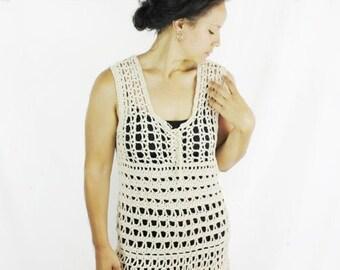 Cotton beach cover up, Crochet summer dress, Ivory beach dress - The Aarushi - Crochet cotton top