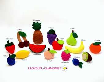 FRUITS and BERRIES felt magnets - Price per 1 item - make your own set Strawberry,Cherry,Pineapple,Apple,Banana,Kiwi,Watermelon,Peach,Grapes