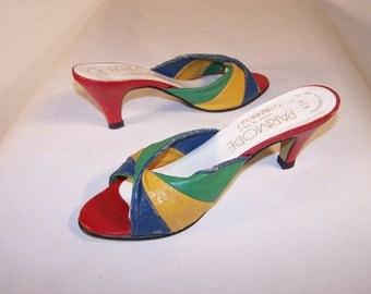 Vintage Ladies Shoes, multi colored slip-ons, Size 5 1/2 - 6