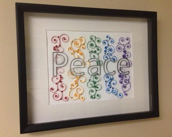 Paper Quilling, Peace, Raindow, Framed Art, 11x14