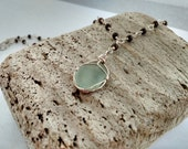 Sea Glass, Wood and Sterling Necklace