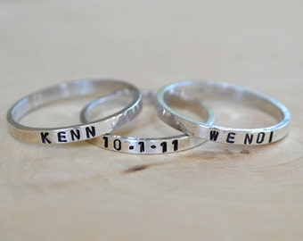 Skinny personalized band ring - sterling band - personalized ring - name ring - stacking ring - think band