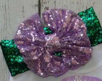 Mermaid Themed Sparkle Head wrap- Girl Turban-Baby Boho headband-  Mermaid  Bow - Metallic Headband-  Head wrap