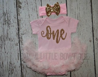 Pink and gold  First Birthday girl-  tutu dress - One tutu dress - tutu - pink tutu- one birthday outfit- gold and pink birthday