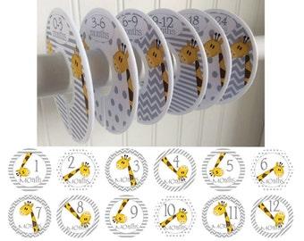 6 Baby Closet Dividers 12 Month Stickers Giraffe Stickers Clothes Dividers Monthly Stickers Baby Shower Gift Newborn Gift Set