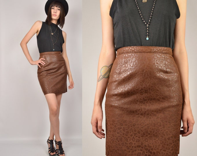 80's Brown High Waist Leather Mini Skirt