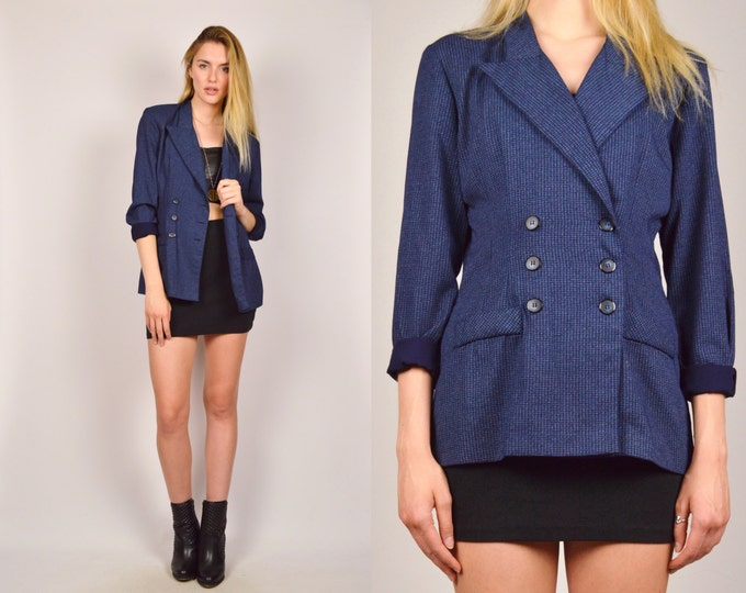 Long Navy Plaid Blazer Lightweight Nautical