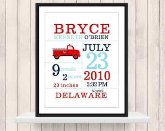 ONSALE Firetruck  Announcement Print  -Nursery Decor