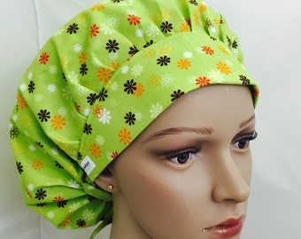 Bouffant Scrub Hat with ties - Orange and Brown Flowers on Green bouffant scrub hat - Ponytail Scrub hat
