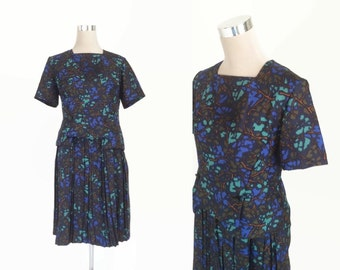 1950's Dress - 50's Vintage Dress - UK14 - Blue Print Dress - Pleated Skirt Dress - Metal Zipper Dress