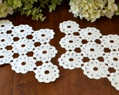 Vintage Creamy White Crochet Lace Doilies, Set of Two 3405