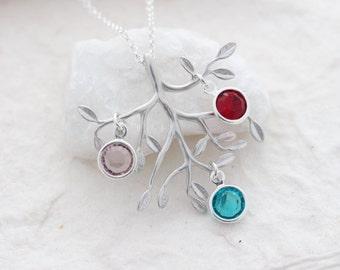 Tree Necklace, Birthstones family tree, choose quantity birthstone, Personalized  Birthstone Jewelry Necklace . family tree necklace,