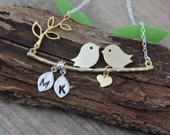 gold lovebirds Necklace. Custom initials. Love birds necklace. Bird Necklace, Anniversary gift, Two tones Necklace, MonyArt Original design