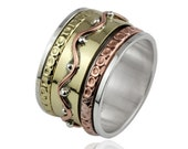 Handmade Bohemian Boho Solid 925 Sterling Silver Copper Brass Tri Color Spinner Band Ring Size 7 :1121