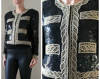 Vintage Sequin Trophy Jacket with Pearl and Gold Details - 1980's Size Large