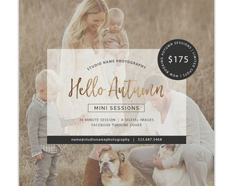 Fall Mini Session Template, Photography Marketing Templates, Marketing Board, Advertisement Template, Photoshop Templates - AD223
