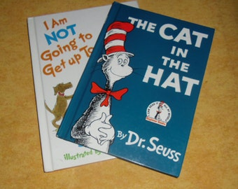 Vintage Childrens' Books - Dr. Seuss, The Cat in the Hat, Grolier Book Club Edition 1985, I Am Not Going to Get up Today, Random House 1987